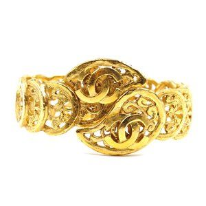 Chanel Gold Cc Cutout Wide Cuff Bangle Bracelet